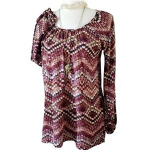 Charming Charlie Aztec Print Long Sleeve Top Sz S